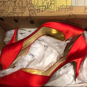Never worn 9.5 J.Crew red satin party shoes!